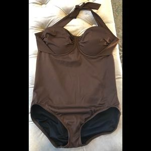 NWOT Brown one piece swimsuit with built in bra.